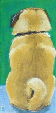 The Observer, 12x6 Inches, Original Acrylic Painting by Kelley MacDonald -- Kelley MacDonald #pug