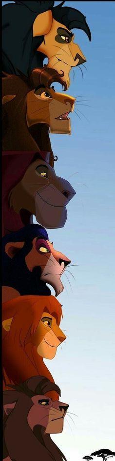 Mohatu, Ahadi, Mufasa, Scar, Simba and Kovu. The kings of pride rock in order Disney Pixar, Walt Disney, Simba Disney, Disney Lion King, Disney Animation, Disney And Dreamworks, Disney Magic, Disney Art, Disney Characters