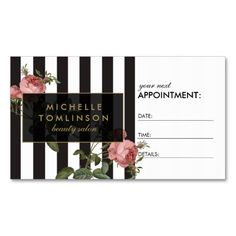 Vintage Floral Striped Salon Appointment Business Card