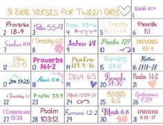 of Bible Verses for Tweens (+ printable calendar) 31 Days of Bible Verses for Girls