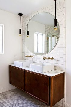 vintage credenza vanity, round mirror // bathroom update // smitten studio// love the backsplash Bathroom Renos, Budget Bathroom, Bathroom Ideas, Bathroom Mirrors, Bathroom Designs, Bathroom Hanging Lights, Bathroom Inspo, Bathroom Renovations, Bathroom Fixtures