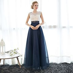 Formal Evening Dress Sheath / Column Jewel Floor-length Lace / Tulle with Pearl Detailing – USD $ 67.99