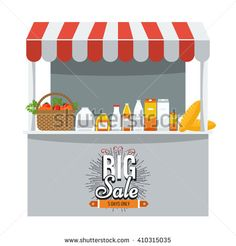 Shop, grocery and shopping concept. Store booth with striped awning, fruits, vegetables, drinks, bread and basket with full of organic food on the display shelf. Big sale title on it.  - stock vector