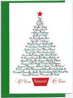 Boxed Cards with tree shaped message of the names of Jesus. 20 Cards and Envelopes.