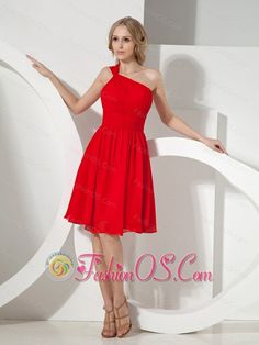 2013 Red One Shoulder Knee-length Chiffon Bridesmaid Dress- $94.56  http://www.fashionos.com  http://www.facebook.com/quinceaneradress.fashionos.us  One shoulder in the front and two straps in the back accentuate your shoulder in this stunning short dress from Fashionos. A beautiful one-shoulder dress that flatters your figure with a ruched bodice and flowy skirt that is perfect for bridesmaid.A hidden zipper makes for easy off and on and secures the dress in place.