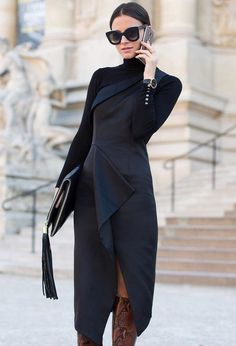 Midi Turtleneck Black Dress Fall Iinspo - Total Street Style Looks And Fashion Outfit Ideas Fashion Casual, Look Fashion, Fashion Outfits, Womens Fashion, Net Fashion, Fall Fashion, Chloe Fashion, Mode Chic, Mode Style