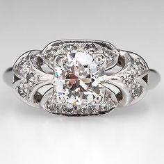 Antique 1930's Engagement Ring Old Euro Diamond Solid Platinum Estate Jewelry