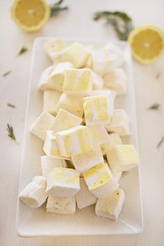 Homemade marshmallows Rosemary Lemon flavored