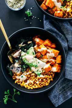 Miso Glazed Sweet Potato Bowls- a healthy bowl of winter's best vegetables coated in a miso glaze and topped with a creamy tahini sauce. Vegan with gluten-free option!