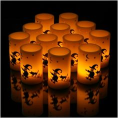 Set of 12 Halloween Flickering LED Painted Witch Design Wax Votives; Only $0.99 Each!