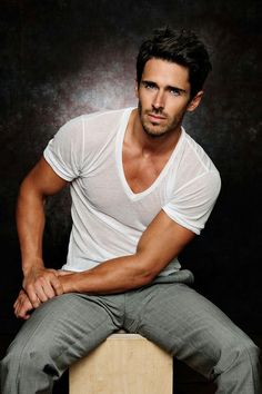 #man #male #model Brandon Beemer...fitted vneck T-shirt and gray pants