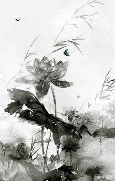 Japan Painting, Ink Painting, Watercolor Paintings, Lotus Flower Art, Lotus Art, Chinese Painting, Chinese Art, Background Drawing, Zen Art