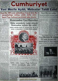 cumhuriyet gazetesi 5 mayıs 1931 şimdi cumhurbaşkanı Erdoğan'a hazretleri diye hitap edilse şeriat geliyor denir gazetedeki habere dikkat edin Karma, History, Basin, Historia