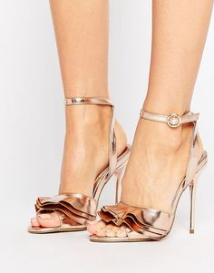 4f74fbe5fcc8 Shop Missguided Ruffle Detail Metallic Heeled Sandal at ASOS.