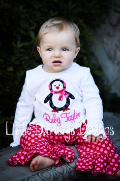 Items similar to Girls Adorable Winter Penguin Appliqued and Personalized Shirt on Etsy Penguin Birthday, Penguin Party, Kids Outfits, Cute Outfits, Baby Outfits, Embroidery On Clothes, Little Fashionista, Cute Baby Clothes, Baby Girl Fashion