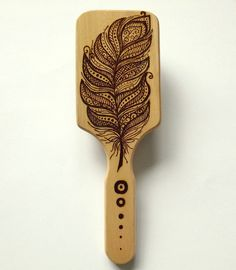 Wood burning Pyrography Hair Brush / Feather by MyCraftmania