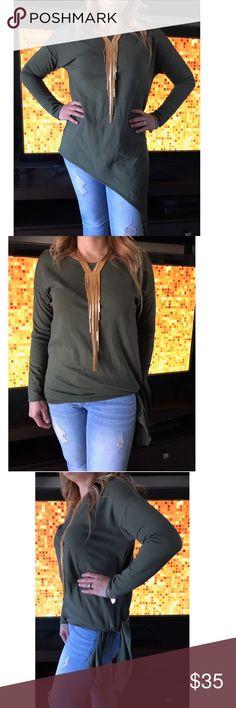 Ann Taylor Long Sleeve Top Ann Taylor Asymmetric Long Sleeve Top Olive Green Ann Taylor Tops