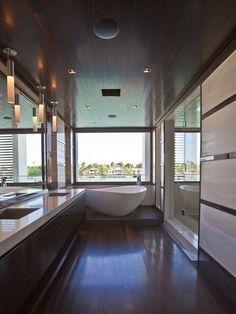 long hallway in bathroom yay