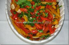 Roasted Peppers Salad Recipe: a traditional Bulgarian dish that reminds me of my mother and her wonderful food!  http://www.dish-away.com/2013/02/roasted-peppers-salad-recipe.html  happy eating