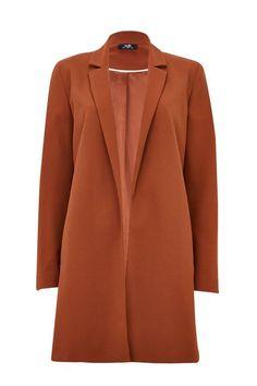 Womens Wallis Rust Plain Lined Scuba Blazer - Brown Work Looks, Wallis, Next Uk, Long A Line, Uk Online, Trousers, Size 10, Blazer, Stylish
