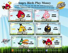 Angry Birds Play Money, Angry Birds Printables; Instant Download; Play Money, Angry Birds, Spongebob, Minecraft, Birthday Cake, Printables, Handmade Gifts, Etsy, Kid Craft Gifts