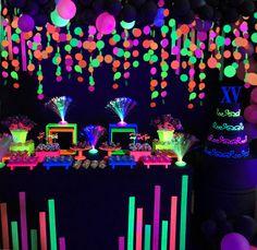 Neon Birthday Cakes, 18th Birthday Party Themes, Birthday Party For Teens, 16th Birthday, 18th Birthday Party Ideas Decoration, Birthday Ideas, Neon Party Themes, Glow Party Decorations, Hanging Decorations