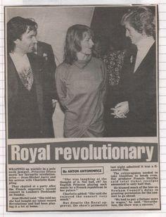 "October 9 1988 Jean Michel Jarre & wife Charlotte Rampling meeting Diana at ""Destination Docklands"" concert in London"