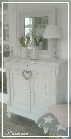 Lovely white cabinet & mirror by Tamara Jonker # stars # grey # cozy # home inspirations # landelijke stijl # candle # beautiful