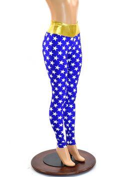 Blue and White Star High Waist Leggings with Gold Metallic Waistband Running Costume Yoga Leggings  150450