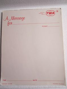 Sold recently on Ebay..a hard to find, vintage TWA message pad!