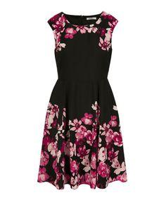 Extended Sleeve Border Print Dress, Black Print, hi-res