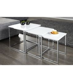FUSION - nest of three tables white high gloss chrome side tables - www.neofurn.co.uk
