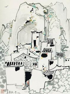 吴冠中-渔村 by China Online Museum - Chinese Art Galleries, via Flickr Japanese Calligraphy, Calligraphy Art, Japanese Art Modern, Modern Art, Culture Art, Chinese Cartoon, Tinta China, Chinese Brush, China Art