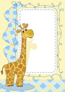 Cartoon frame with baby giraffe vector Scrapbook Frames, Baby Scrapbook, Baby Shower Clipart, Congratulations Baby, Cute Frames, Baby Shawer, Quilt Labels, Borders For Paper, Writing Paper