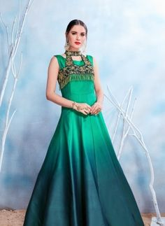 Blue Rama Modal Satin Stone Work Embroidered Party Wear Gown Product Details: Spread your ethnic charm as a bride draped in this wonderful rama blue color gown. Crafted of modal satin(pure fabric), this party wear gown comes with santoon inner. Indian Wedding Gowns, Wedding Gowns Online, Indian Gowns, Gown Party Wear, Party Gowns, Long Gown Dress, Long Gowns, Dress Skirt, Satin Gown