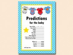 Superhero Baby Shower Game Pack predictions-for-baby