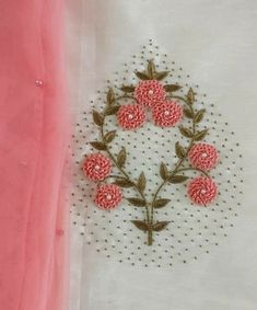 Embroidery patterns hand simple fabrics New ideas Zardosi Embroidery, Embroidery On Kurtis, Hand Embroidery Dress, Kurti Embroidery Design, Hand Embroidery Videos, Ribbon Embroidery, Crewel Embroidery, Embroidered Blouse, Handmade Embroidery Designs