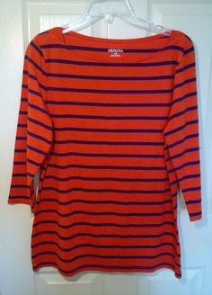 Women's 3/4 Sleeve Orange & Navy Blue Boat neck Top/Blouse Size Large - Merona #Merona #Blouse #Casual