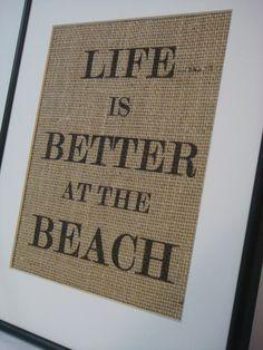 Burlap Print Beach House Sign on natural burlap cottage beach home decor --- No. 7. $16.00, via Etsy.
