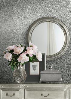 Muriva Celestia Oriah Silver Real Glitter Wallpaper (6m x 53cm) – Silver