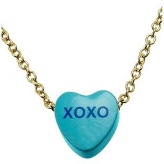 Sweet Hearts Necklace, Xoxo Heart Pendant ($7.49) ❤ liked on Polyvore featuring jewelry, necklaces, accessories, blue, gold, jewelry & watches, women, heart pendant, heart pendant necklace and heart shaped pendant