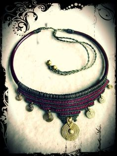 Brass Spiral Tribal Necklace Macrame Brown Olivegreen, Choker Collier Collar Leather Makramee Goa Gypsy boho Ethno Made to Order Collar Macrame, Macrame Colar, Macrame Necklace, Tribal Necklace, Macrame Jewelry, Tribal Jewelry, Bohemian Jewelry, Diy Jewelry, Jewelry Accessories