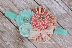 Baby Girl Headbands - Baby Girl - Hair Bow - Coral and Aqua - Paradise - Vintage Baby Headband - Baby Headbands - Newborn. $18.00, via Etsy.