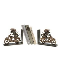 Motorcycling Mouse Bookends  by Anecdotal Aardvark $71.95 + 5.00 s