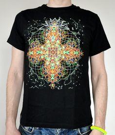 371166d6032 Mandala universe fluorescent t-shirt Glow under ultraviolet darklight  psychedelic fractals neon party club psy trance goa religion yoga lsd