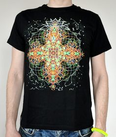 Mandala universe fluorescent t-shirt Glow under by RaveDesign