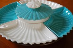 Mid Century Turquoise and White Pottery Lazy Susan Serving Set Covered Bowl, Retro California Pottery Partyware,Teal Appetizer Dish, Easter
