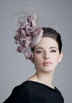 Dusty pink taffeta pillbox with roses and face veil  Rachel Trevor-Morgan