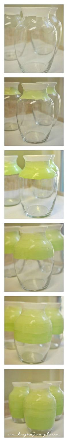 Dollar Store Spring Ombre Vases--SO easy!