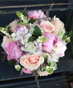 Sarah Bernhardt peonies, Sweet Avalanche roses, Heather and Snowberries www.freshflower.co.uk